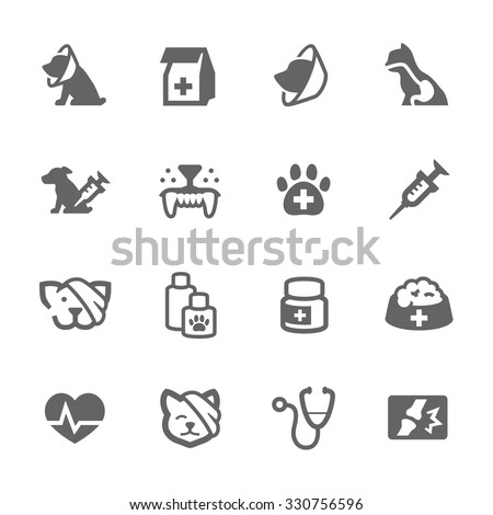 Simple Set of Pet vet Related Vector Icons for Your Design. - stock vector