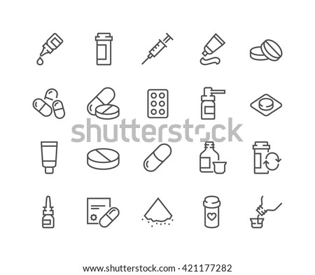 Simple Set of Pills Related Vector Line Icons.  Contains such Icons as Gel, Inhaler, Prescription, Syrup and more.  Editable Stroke. 48x48 Pixel Perfect.  - stock vector