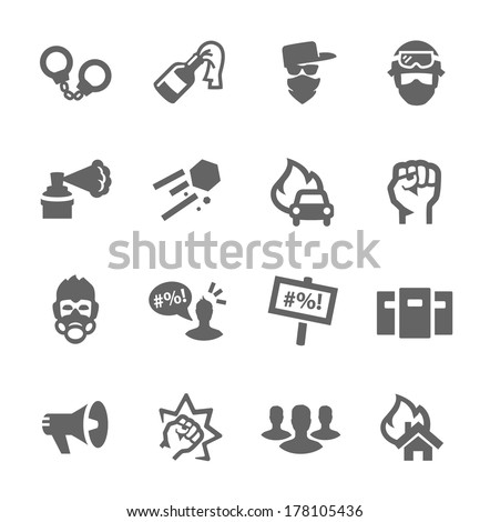 Simple set of protest related vector icons for your design - stock vector
