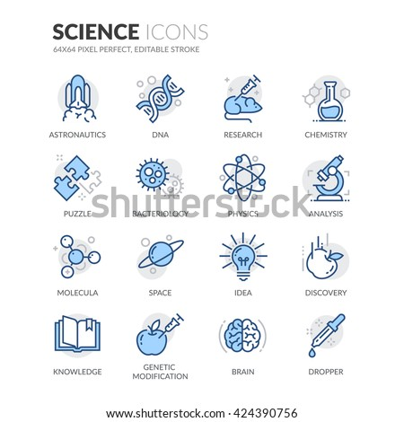 Simple Set of Science Related Color Vector Line Icons.  Contains such Icons as DNA, Analysis, Research, Genetic Modification and more.  Editable Stroke. 64x64 Pixel Perfect.  - stock vector