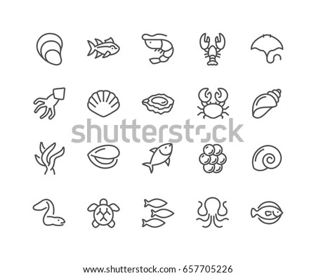 Simple Set of Sea Food Related Vector Line Icons.  Contains such Icons as Shrimp, Oyster, Squid, Crab and more. Editable Stroke. 48x48 Pixel Perfect.