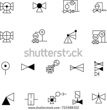 Simple Set Shutoff Control Valves Symbols Stock Vector Royalty Free