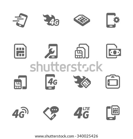 Simple Set of Sim Cards Related Vector Icons. Contains such icons as prepaid phone, simcard, 4g and more. Modern vector pictogram collection. - stock vector