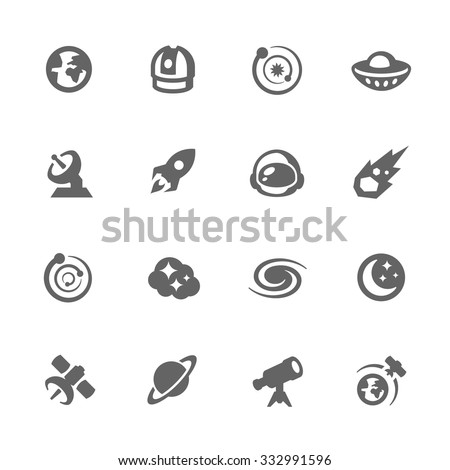 Simple Set of Space Related Vector Icons for Your Design. - stock vector