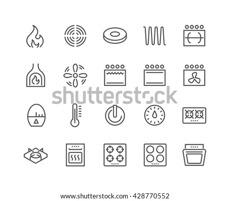 Simple Set Stove Related Vector Line Stock Vector Royalty Free