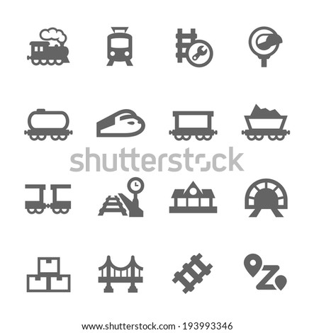 Simple Set of Trains Related Vector Icons for Your Design - stock vector