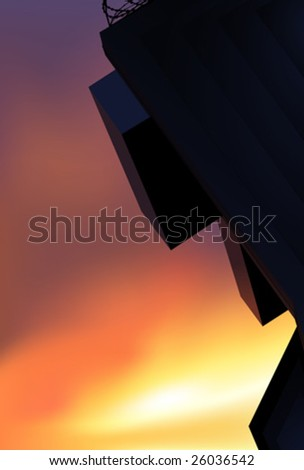Simple shape with stunning sunset color - stock vector