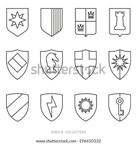 Simple shields badges design outlines logo stock vector 196650332 simple shields badges design outlines logo template vector icons set pronofoot35fo Image collections