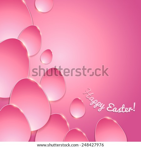 Simple shiny flat eggs on gradient background - pink color. Good for Easter design. - stock vector