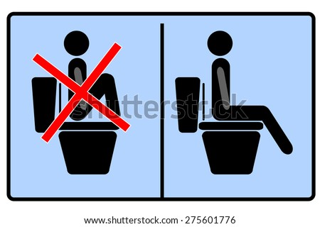simple sign, do not step on the toilet   - stock vector