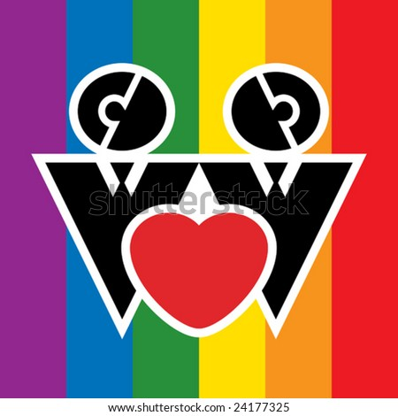 Simple signs representing homosexual couple. - stock vector