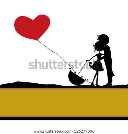 simple silhouettes couples with heart balloon background - stock vector