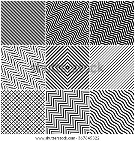 Simple Slanted Black Lines Background Set - Collection of slanted angular and wavy line designs with black lines on white background - abstract pattern design