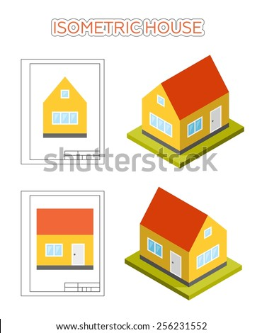 Simple small cute isometric house, vector icon. Set of front and side elevations and isometric views. - stock vector