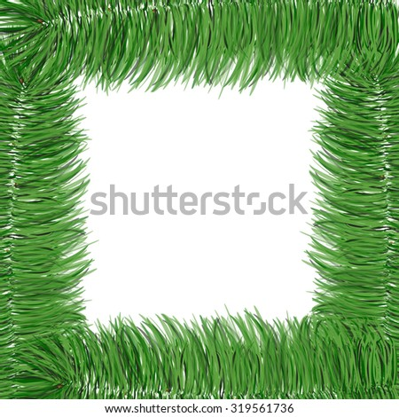 Simple spruce branches frame isolated on white. Evergreen branches. New Year symbol. Vector illustration. Winter picture can be used for postcard, invitation, web design, banner. Green spruce. - stock vector