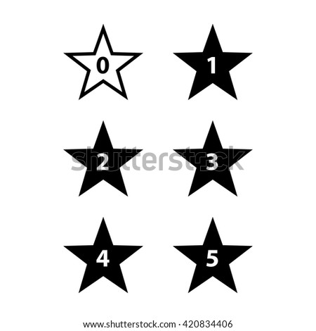 Simple Stars Rating. Black Shapes on White Background - stock vector