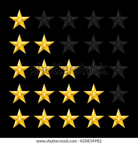 Simple Stars Rating. Gold Shapes on Black - stock vector