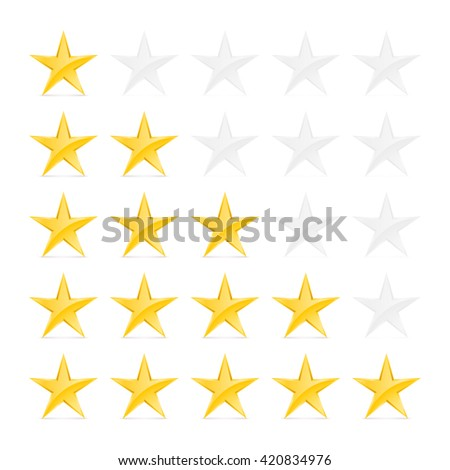 Simple Stars Rating. Gold Shapes with Shadow on White Background - stock vector