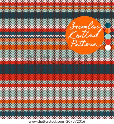 Simple Striped Knit Seamless Pattern with warm and cold colors, vector - stock vector