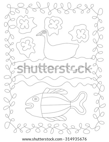 Simple stylized contour line drawing with duck, water and fish. - stock vector