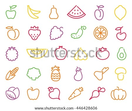 Simple stylized contours of vegetables and fruits - stock vector