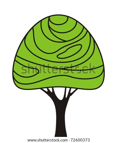 simple stylized tree as a sign - stock vector