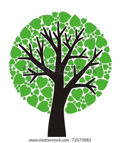 simple stylized tree with green leaves - stock vector
