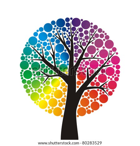 simple stylized tree with rainbow leaves - stock vector