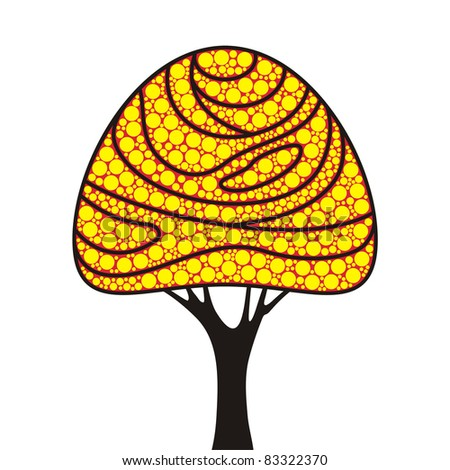 simple stylized tree with round leaves - stock vector