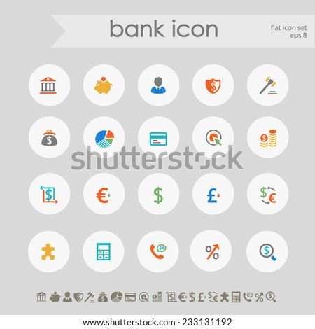Simple subtle colored banking icons on white circles - stock vector
