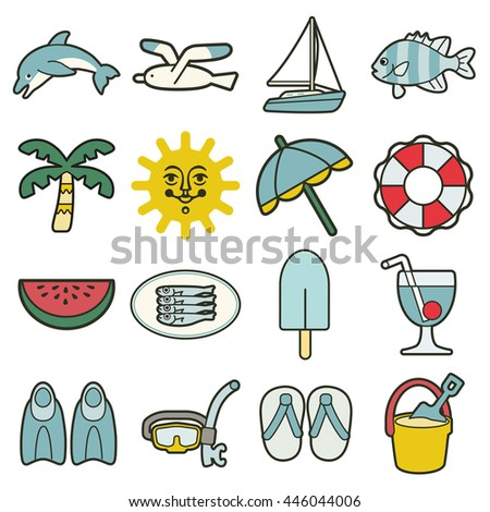 simple summer sea vacation icons - stock vector