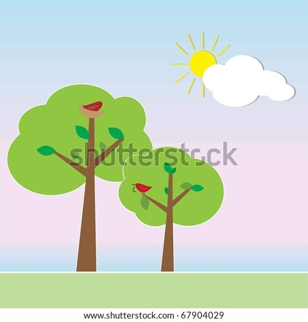 Simple Sunset with trees, birds clouds and sun - stock vector