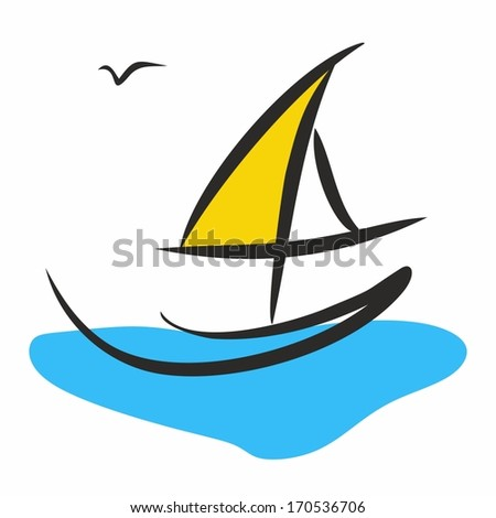 simple symbolic ship sailing in the sea and seagull - stock vector