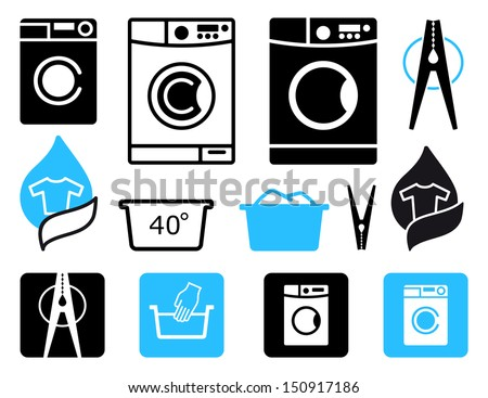 Simple symbols of washing machines and washing - stock vector