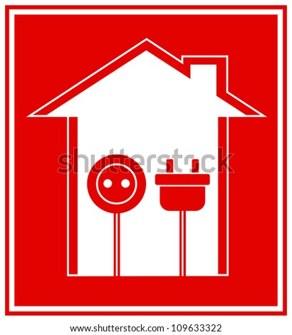 simple technical red symbol of electricity with house