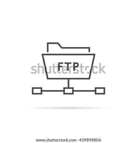 simple thin line ftp folder icon. concept of software update, router, teamwork tool management, copy process, info. flat style trend modern logo design vector illustration isolated on white background - stock vector