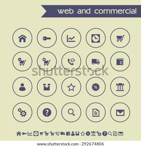 Simple thin Web&commercial icons on light gray background - stock vector