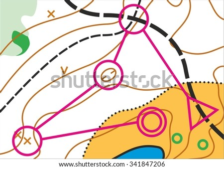Simple topographic map for orienteering sport with distance marked on it. - stock vector
