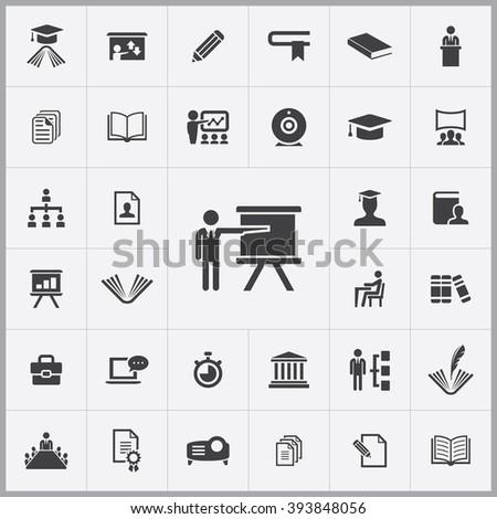 Simple training icons set. Universal training icons to use for web and mobile UI, set of basic UI training elements - stock vector