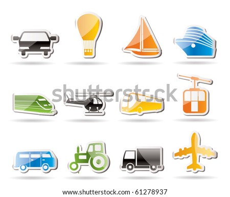 Simple Transportation and travel icons - vector icon set - stock vector