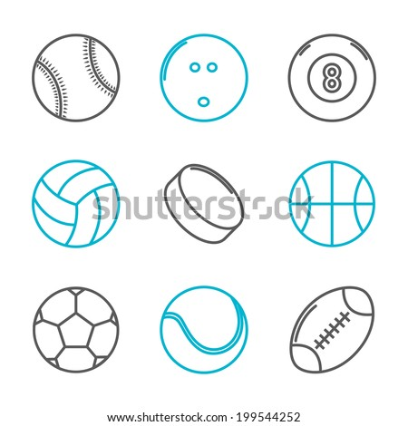 Simple trendy sport icons set (baseball, bowling, billiard, volleyball, hockey, basketball, soccer, tennis, american football). Vector illustration - stock vector