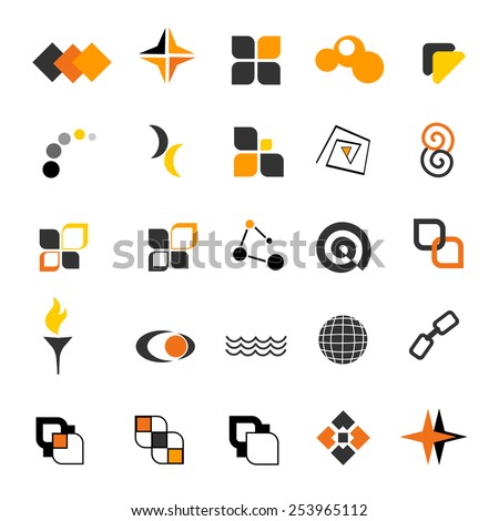 Simple two color logo shape collection isolated on white background  - stock vector