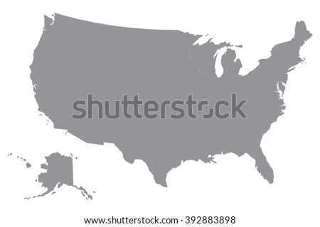 Simple Usa Map Stock Vector 392883898 Shutterstock