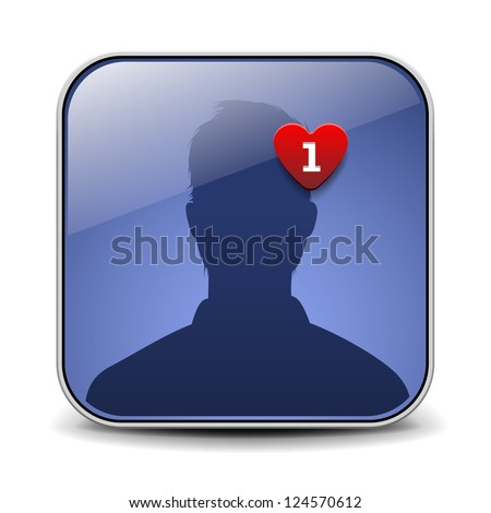 Simple user avatar icon. Valentine Day - stock vector