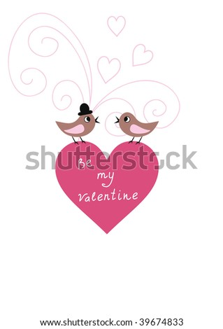 Simple valentine card with birds and hearts - stock vector