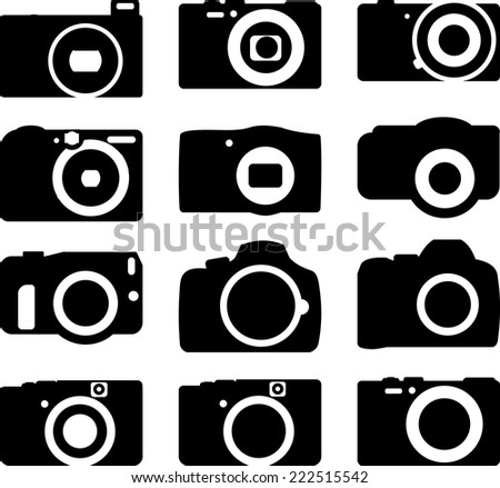 Simple various camera icon vector set 6 of 6