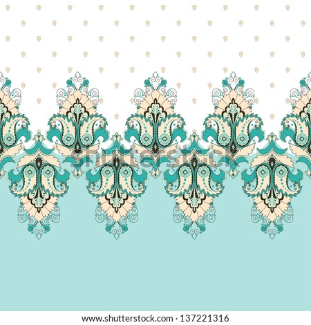 Simple vector background and border. Oriental floral pattern and decorative items. Ample opportunities for use. Easily edit the colors. - stock vector
