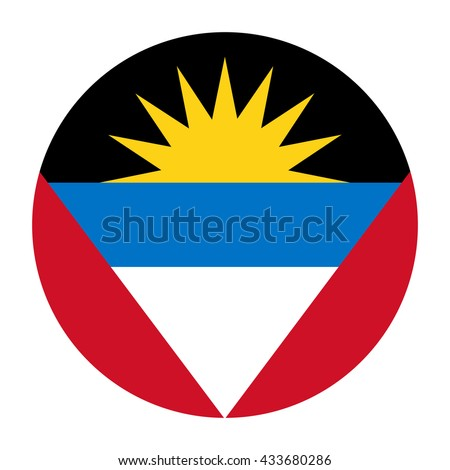 Simple vector button flag - Antigua and Barbuda