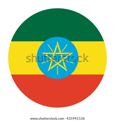Simple vector button flag - Ethiopia