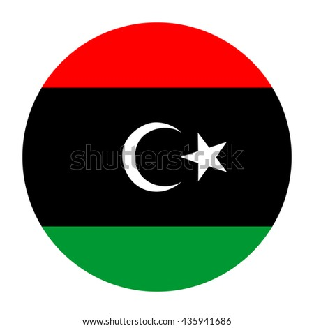 Simple vector button flag - Libya